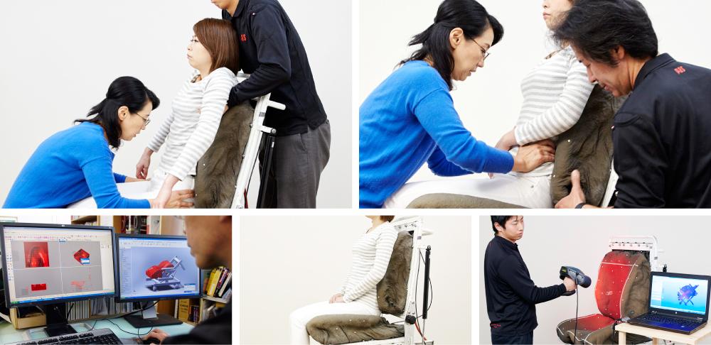 野村寿子さんによる、実際の「採型」。長時間のデスクワークも気持ちいい!ポリエチレン樹脂を編んだ「弾力凹凸マット」|リカバリーマット