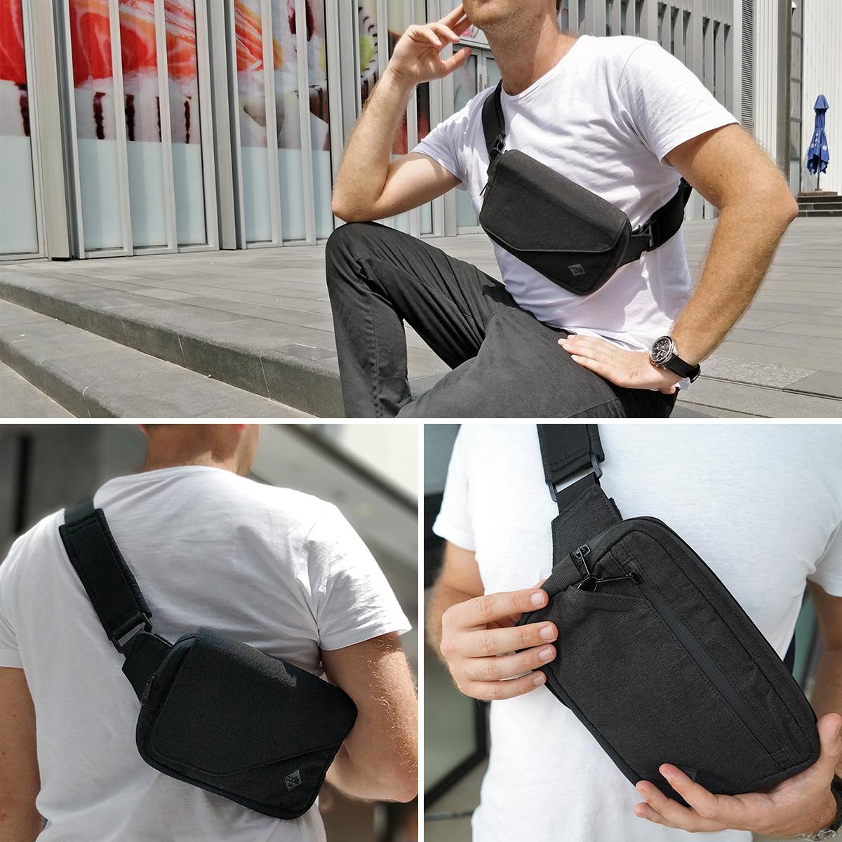 セキュリティ機能の高い、紙幣・カードをそのまま収納できる、着る財布(ボディーバッグ型財布)|Code10
