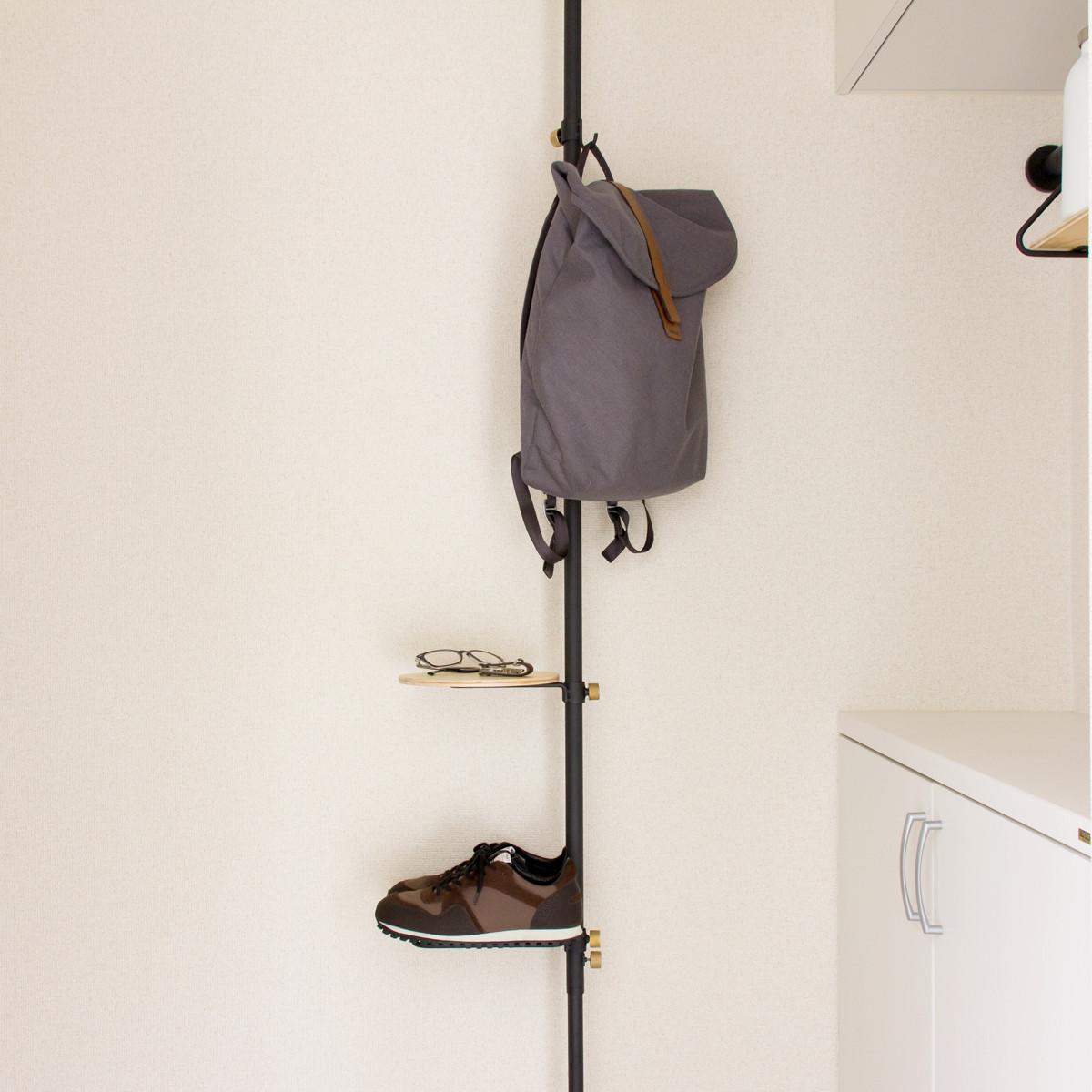 玄関セット|1本の線(ライン)に、鍵もバッグも指定席ができる「つっぱり棒」|DRAW A LINE