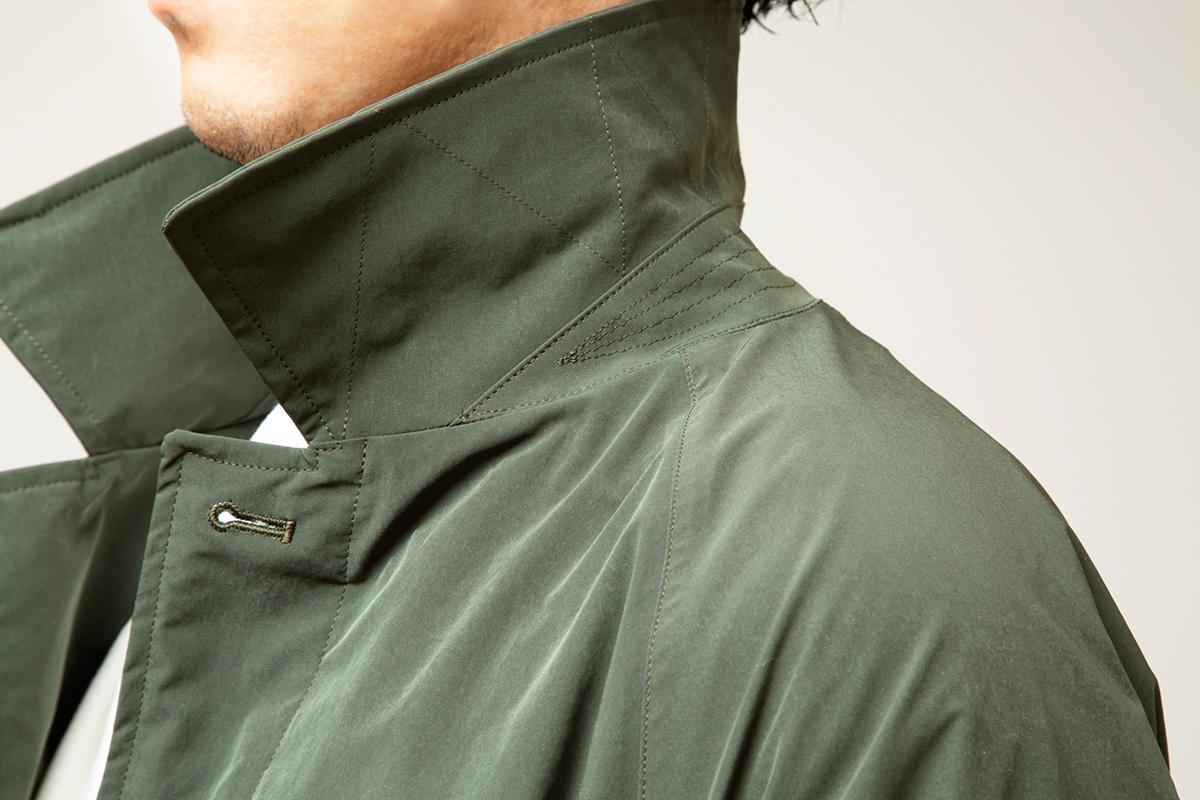⑦山刺しステッチの襟(えり)|脱ぎ着が不要、これ一着で36〜42℃に温度調整できる次世代通勤コート|SANYOCOAT サンヨーコート(HEATIER)