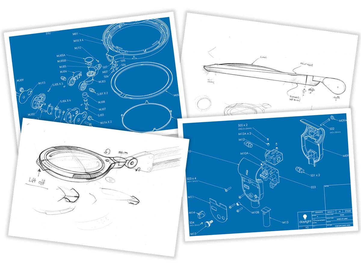 電子機器の製造や検査、医療や美容サロン、手芸・工芸などの専門家へ、手元の作業用に特別に設計した機能的ランプを製造するデイライト社。コードレスで使えて、隙間に収納できる!手元を大きく・明るく照らすルーペ付き太陽光LEDの「デスクライト」|daylight - Halo Go