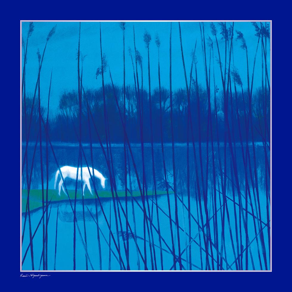 日本画家・東山魁夷の日本画が描かれたシルクスカーフ「水辺の朝」