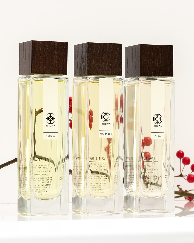 ディスプレイしたくなる芸術品のようなガラスボトル。伝統の薫香技術が生む「香り」で、空間の模様換え。たった1本で気分を一新するリフレッシャーミスト(ルームフレグランス)|KITOWA