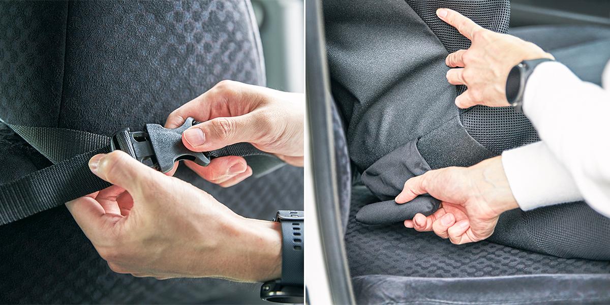 軽自動車からワンボックスカーまで、あらゆる車に設置OK。置くだけで、運転中ずっと、腰・背中・お尻がラクな車用シートクッション|P!nto Driver