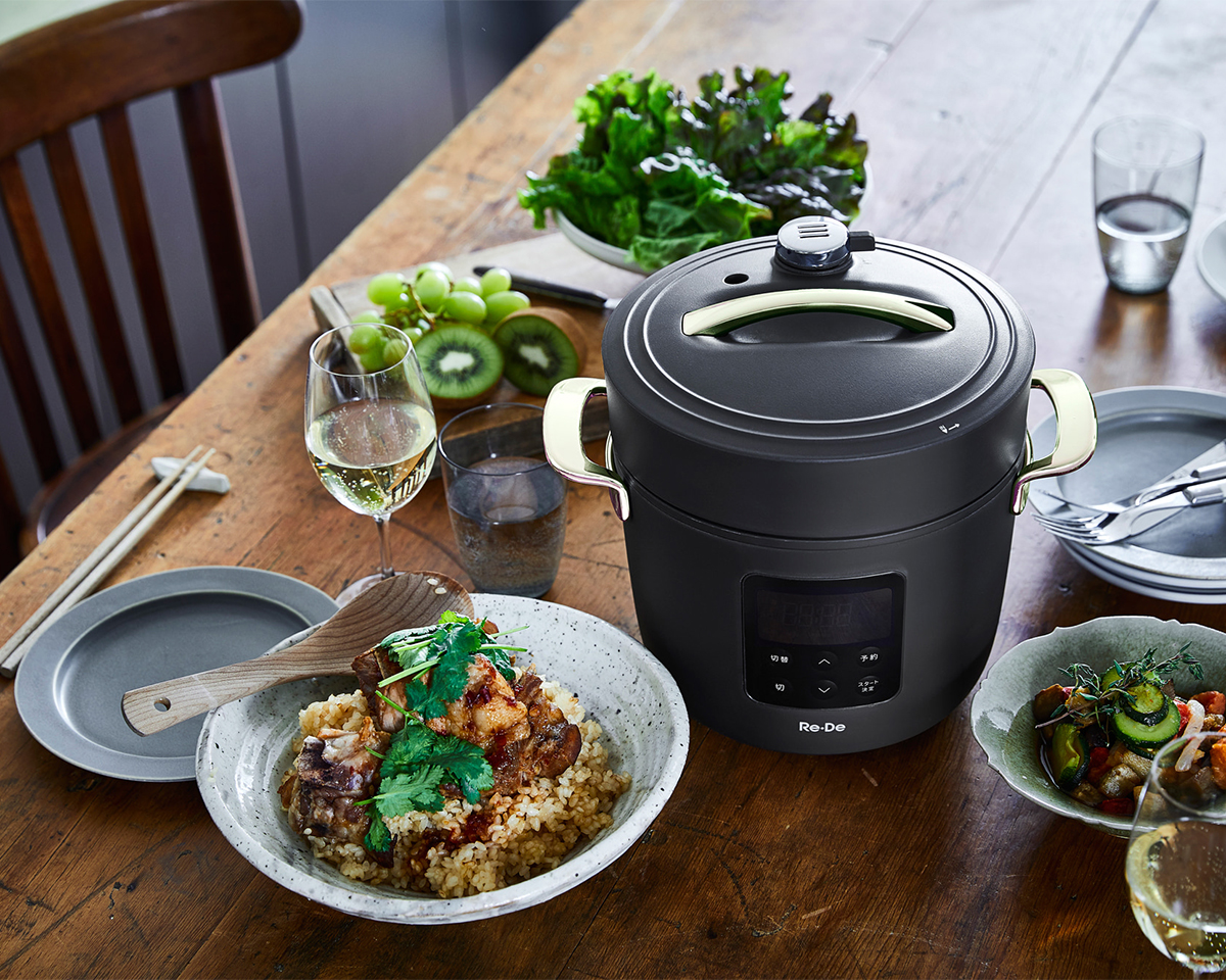 じっくりコトコト煮込んだカレーやシチュー、豚の角煮があっという間に。鶏むね肉やささみを使った蒸し鶏や茶碗蒸しの低温調理もカンタンに。「アシスト調理器・電気圧力鍋」|Re-De Pot(リデ ポット)