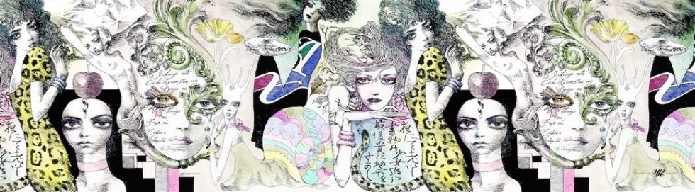 宇野亜喜良氏の『クロニクル』の巻末の「書物の少女」を織り込んだストール原画
