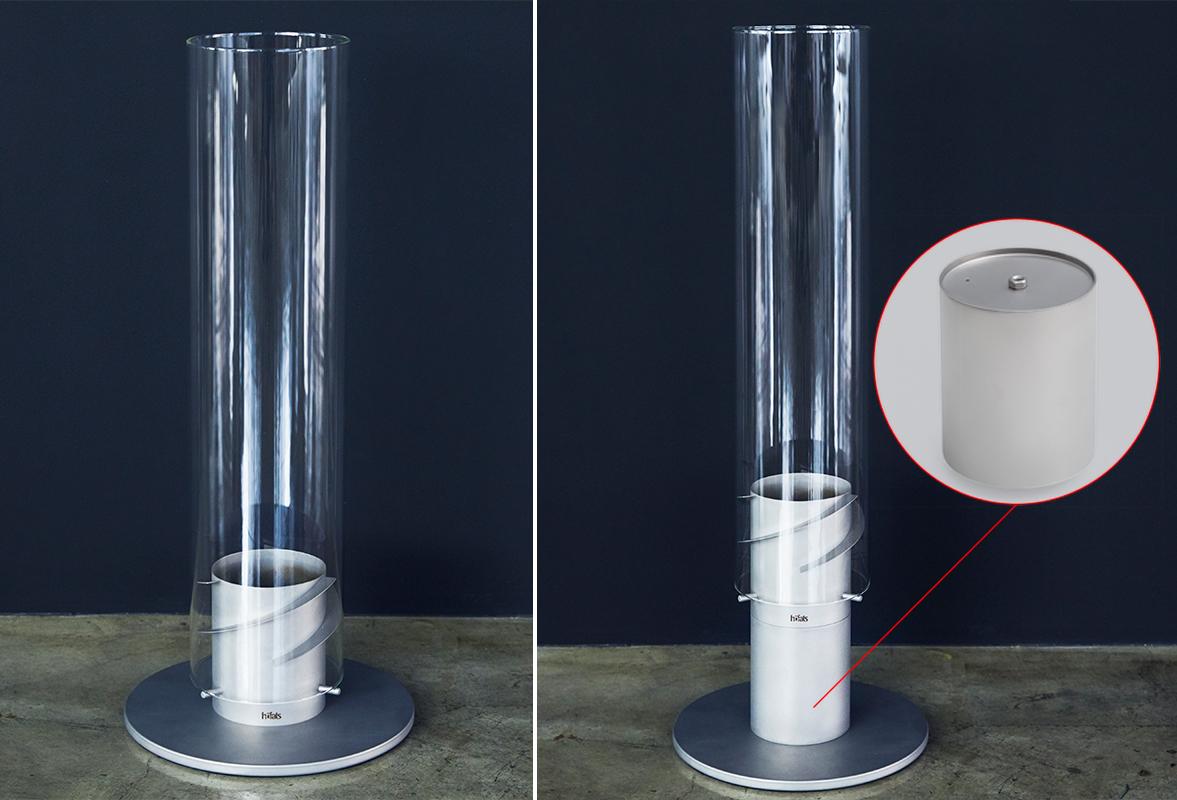 地面に直接置いて使用する際、「エレベーション」パーツを装着すれば、11センチほど炎の位置が高くなり、目線に近づくことで迫力もアップ。「テーブルランタン&ガーデントーチ」|Hofats SPIN(ホーファッツ スピン)