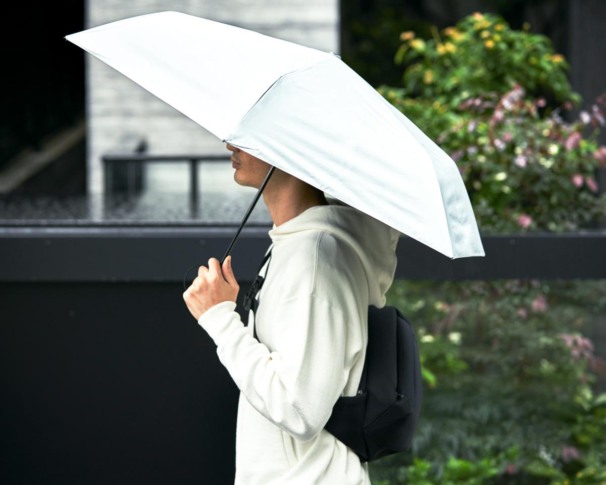 完全遮光フィルムを圧着した2層構造の「ヒートブロック」生地。完全遮光で遮熱性もある「ワンタッチ開閉式折りたたみ傘(晴雨兼用)」|VERYKAL HEAT BLOCK