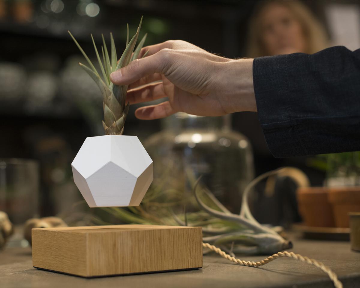 遊び心ある磁石で浮遊し回転する観葉植物プランター | LYFE
