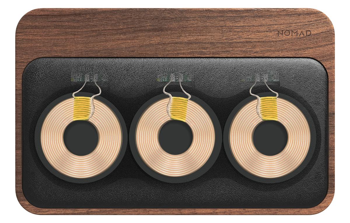 レザーパッド内部には、3つのハイパワー充電コイルを搭載。iPhone、AirPodsを飾るようにまとめてチャージ、2つのUSBポートを備えたおしゃれな「ワイヤレス充電ベース」| NOMAD | Base Station