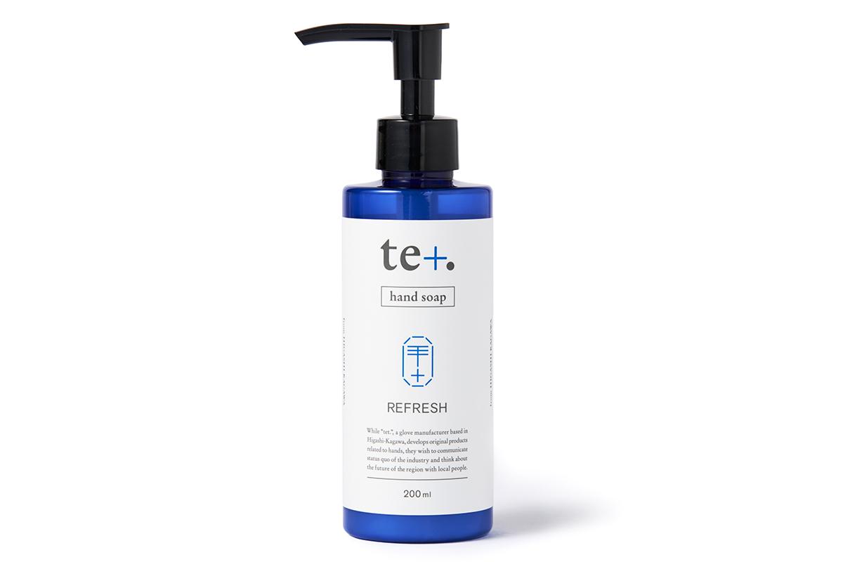 スタイリッシュな薬瓶を思わせる、清潔感のあるデザインは、ハンドソープの清々しい香りと、自然な洗い心地にぴったり。バンドソープ(液体石鹸)|tet. hand soap REFRESH(テト ハンドソープ リフレッシュ)
