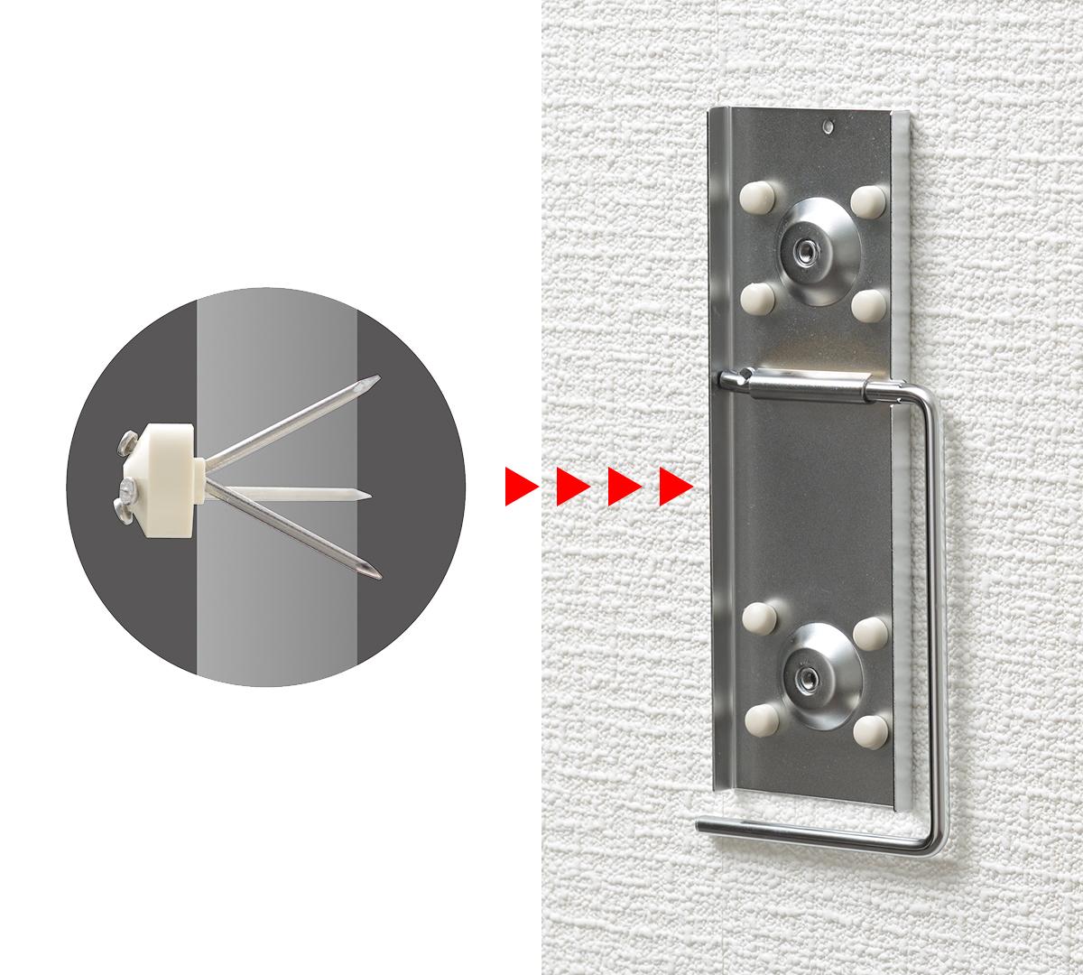穴の跡が目立ちにくい「極細ピン」で固定できるから、新しい壁紙や賃貸住宅にもオススメのコードレス掃除機のフック|Pinde(ピンデ)