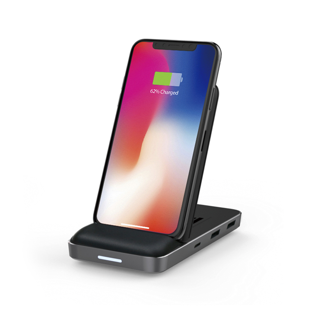 Apple社が指定した周波数を使って充電するので、TouchIDやFaceIDの認識機能を邪魔しない。充電しながらあなたを認識する「8in1 USB-Cハブ+ワイヤレス充電器」|Hyper Drive