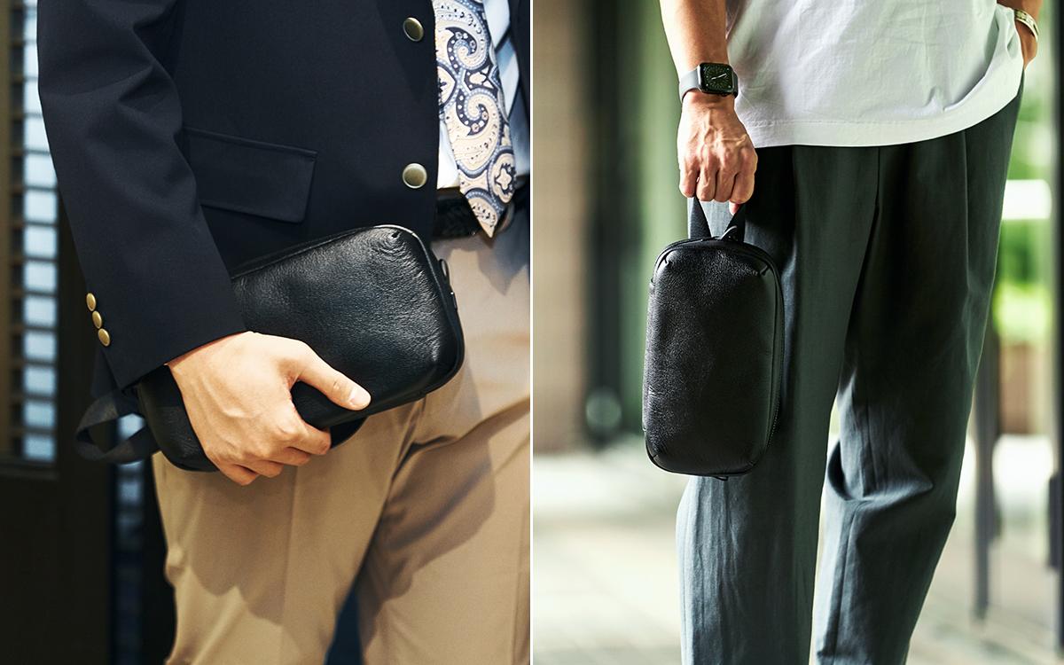 冠婚操作にも使えるレザークラッチバッグ|防水レザーバッグの新世代は、軽くてジェンダーレス。高機能な『FARO』の最新型防水レザーバッグ