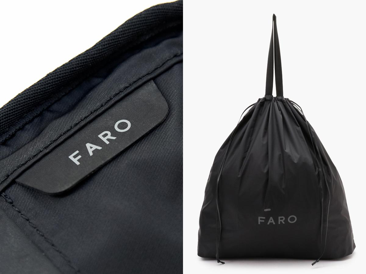 ロゴ入りのタグは、バッグ内側に。収納袋付き|防水レザー、超軽量、直感ポケット付きの日本製レザーバッグ|PCバッグ・トートバッグ・リュック・バックパック|FARO(ファーロ)