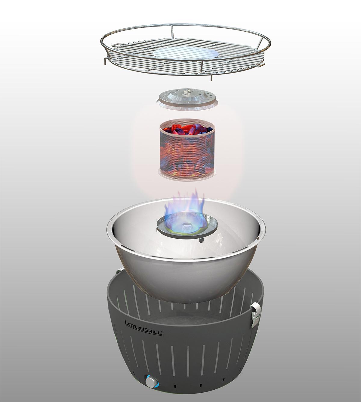 煙が少ない火力調節ファン付きロースターで、初心者でも火加減しやすい(一人キャンプ、ソロBBQに)|Lotus Grill
