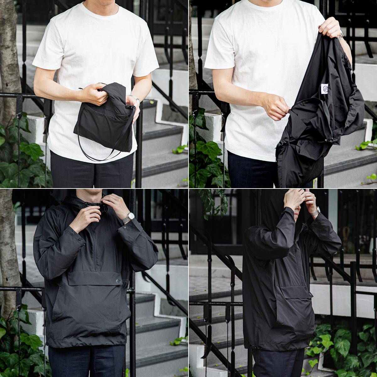 旅の必需品「ショルダー型バッグ」「上着」「雨よけ」を一つに集約。旅や遊びをスマートにバージョンアップさせる新しい発想の「バッグ一体型パーカー」| SANYO ENJIN