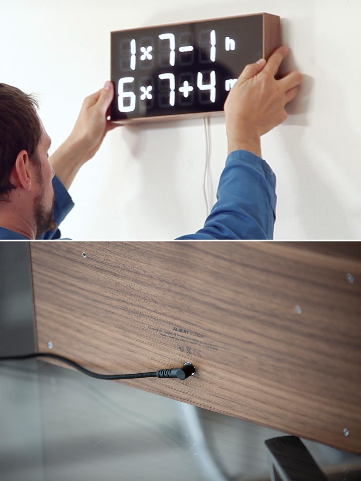 本体背面から電源アダプタを接続。ゲーム感覚で数式を解いて、時刻を割り出すデジタル置き時計 |Albert Clock