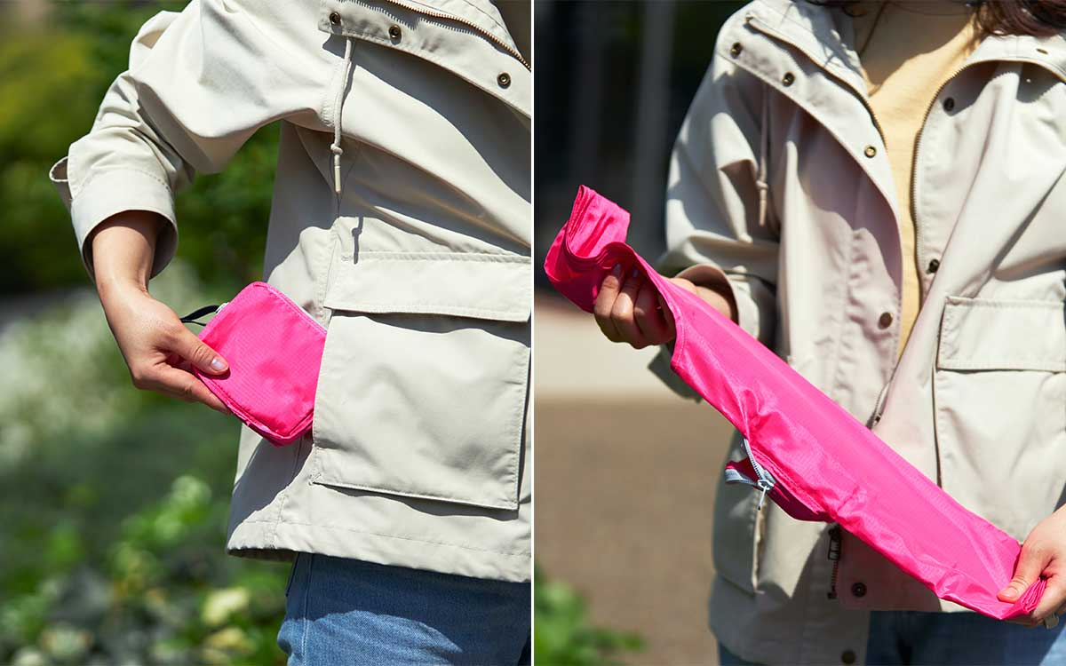 バッグの生地にはさりげなく折り目の記憶加工が施されており、いつでもどこでも素早くキレイにたためる設計。ファッションに合わせて選べる豊富なカラー展開。スマートに持ち歩ける折りたたみエコバッグ|KATOKOA