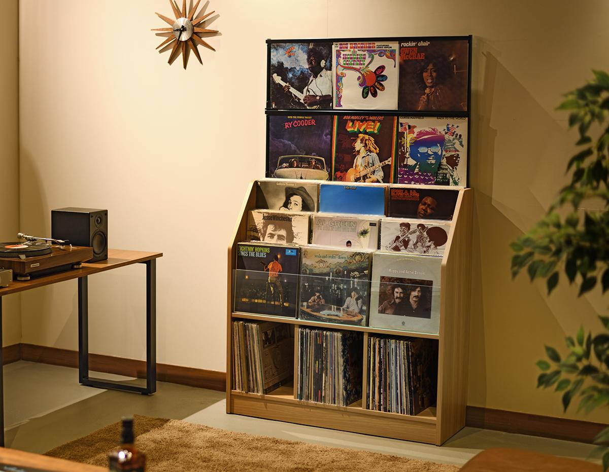 あなたの音楽体験を、もっとワクワクさせてくれる。大好きなジャケットを目線の高さで楽しめる、大容量レコードラック|レコードディスプレイラック