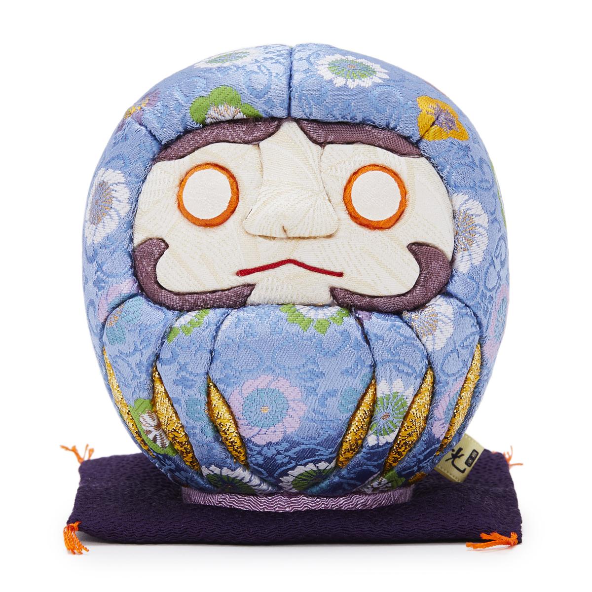 伝統の木目込み技術とモダンデザインが出逢った願掛けだるま 友禅染め・青|柿沼人形