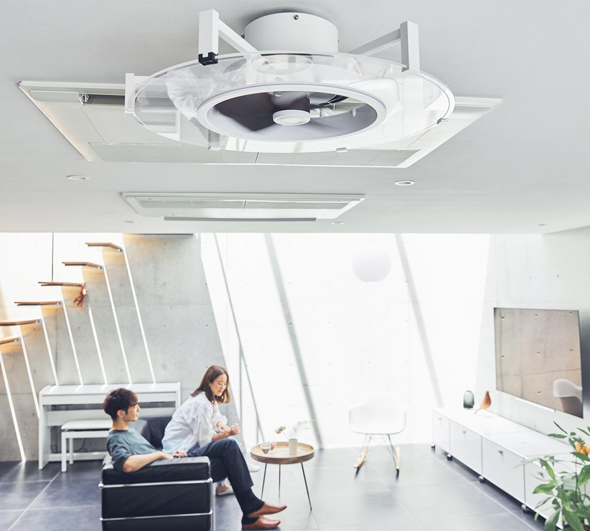 簡単に設置できる。空気を循環させるファンと天井照明がひとつになった、シーリングファンライト JAVALO ELF(ジャバロエルフ)のパネライト