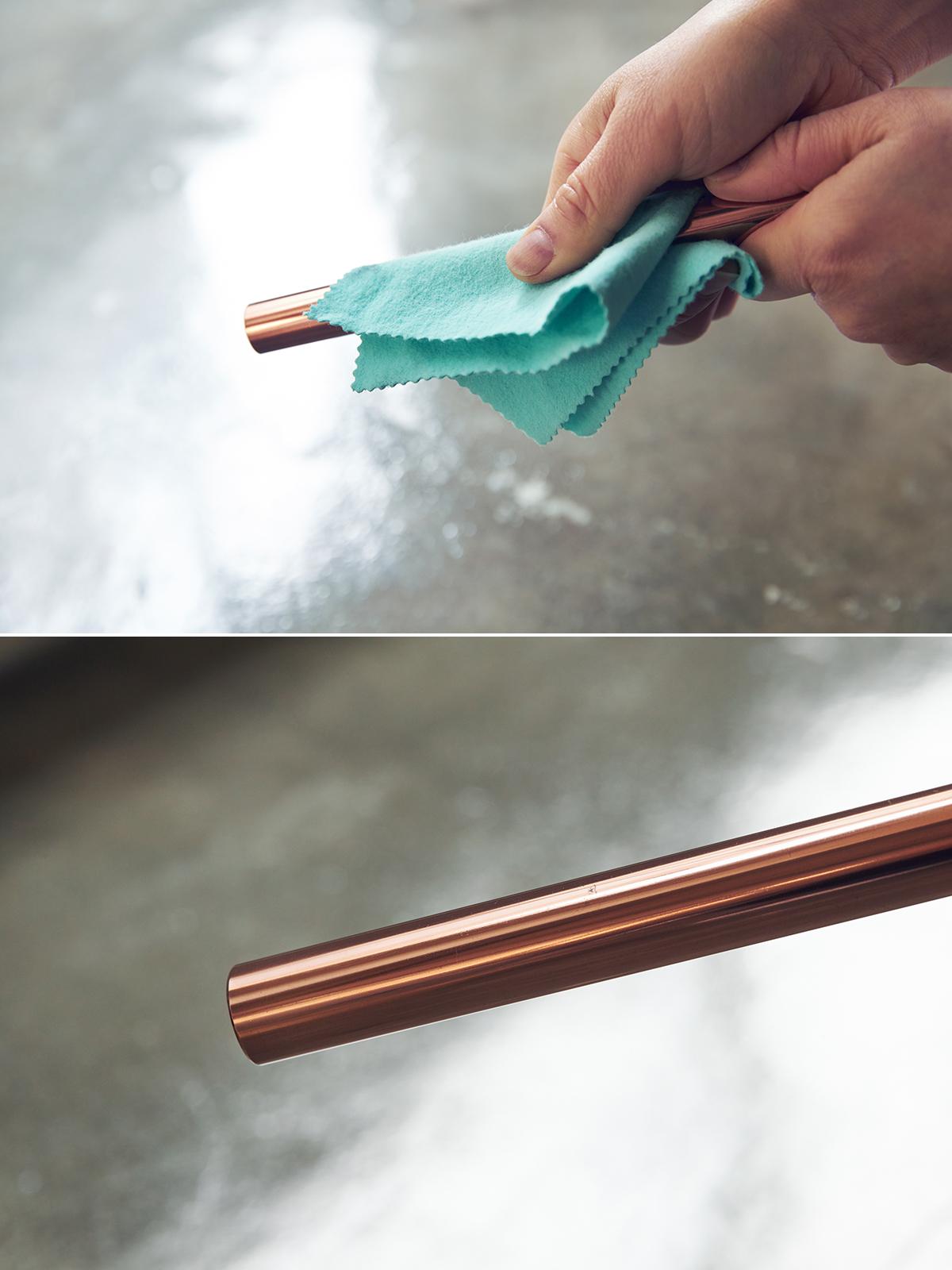 おすすめの定期的なメンテナンス。「金属磨きクロス」で磨いた場合|無造作に挿すだけで「絵」になる、銅管の一輪挿し・花瓶・フラワーベース|BULBOUS