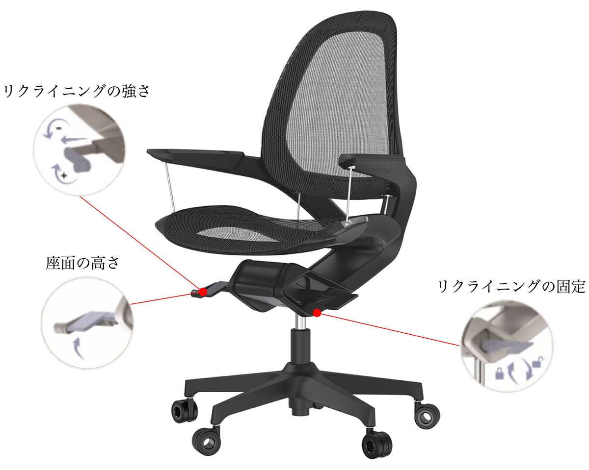 好みのリクライニングの強さや座面の高さを調整できる。いつでも「気持ちいい仕事姿勢」が続くワーキングチェア|Elea Chair