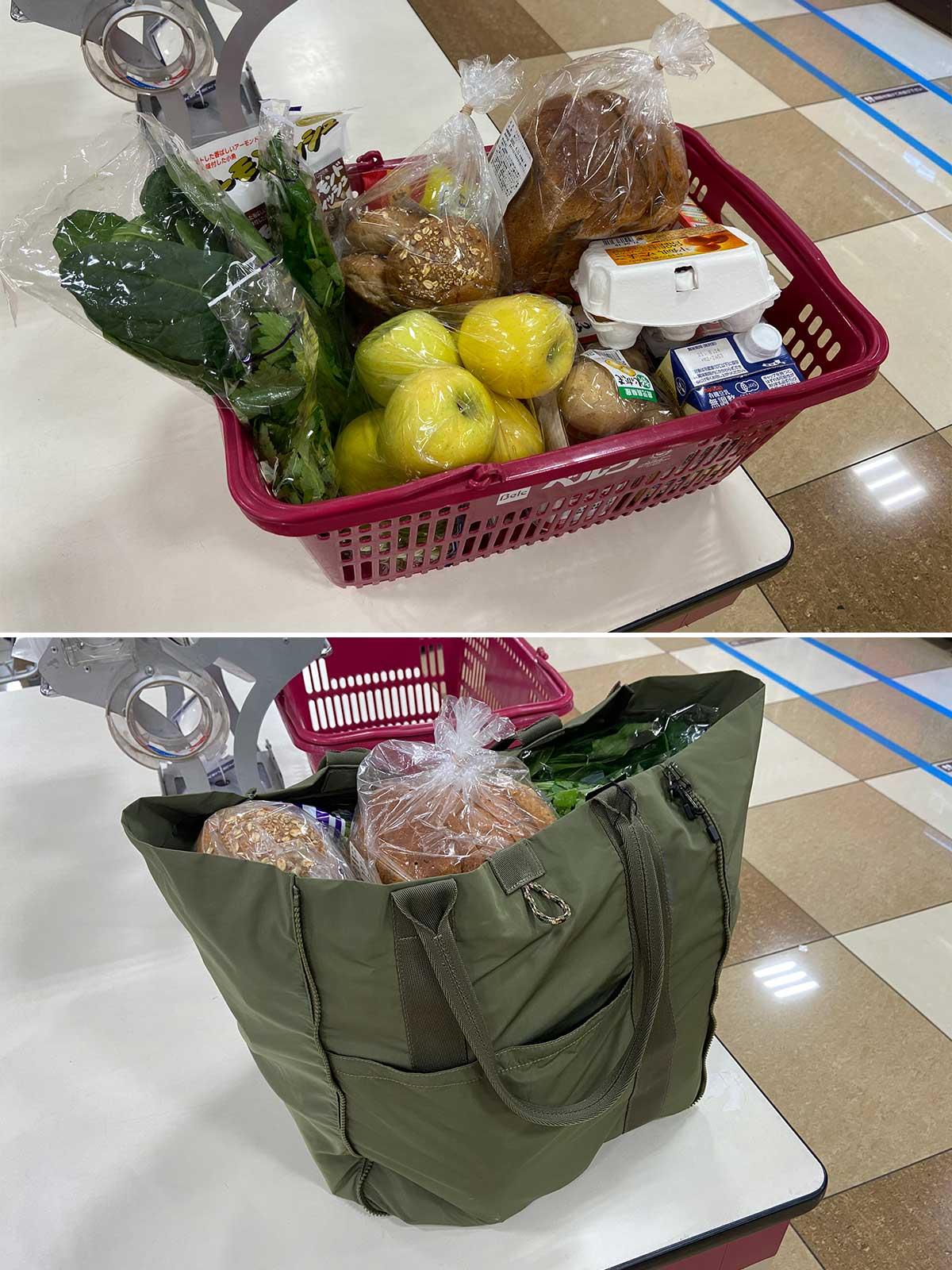 使いやすさが、まるで違うと実感しました。薄型トートバッグが大容量バッグに変身するバッグ|WARPトランスフォームジッパーバッグ