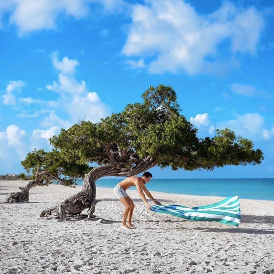 環境を守る視点からもおすすめ。水をサッと吸収、砂がつかないマイクロファイバー製のカラフルタオル(ビーチタオル)|DOCK & BAY