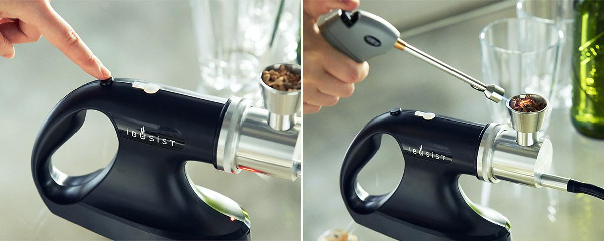 本体の電源ボタンを押し、赤いランプが点滅したら、スティック状ライターなどで燻製チップに火を点けてください。誰でも手軽にできて、感動的に変化する「燻製器」IBSIST(イブシスト)
