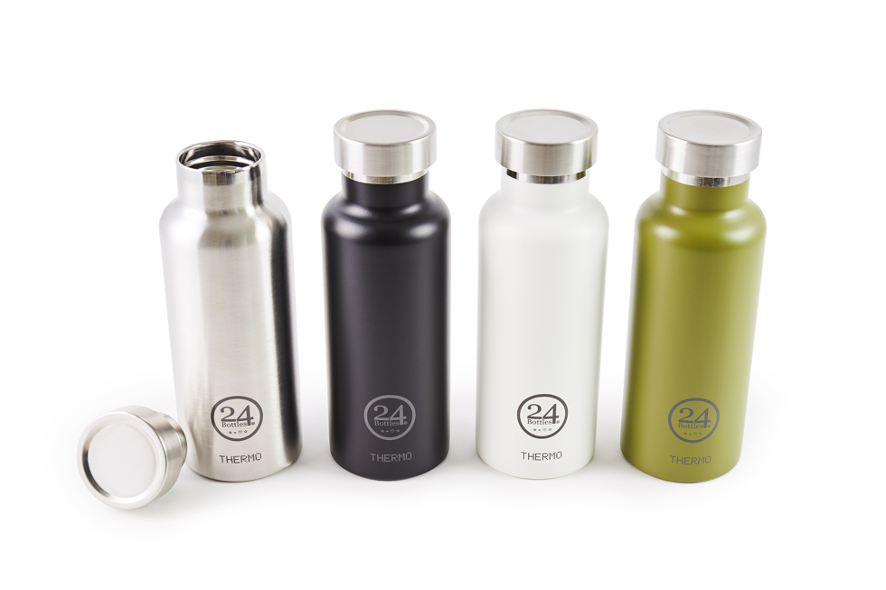 長時間の保冷・保温が可能、環境にも優しい、おしゃれなステンレスサーモボトル(水筒) | THERMO BOTTLE 500ml(カラーバリエーション:緑、シルバー、白、黒)