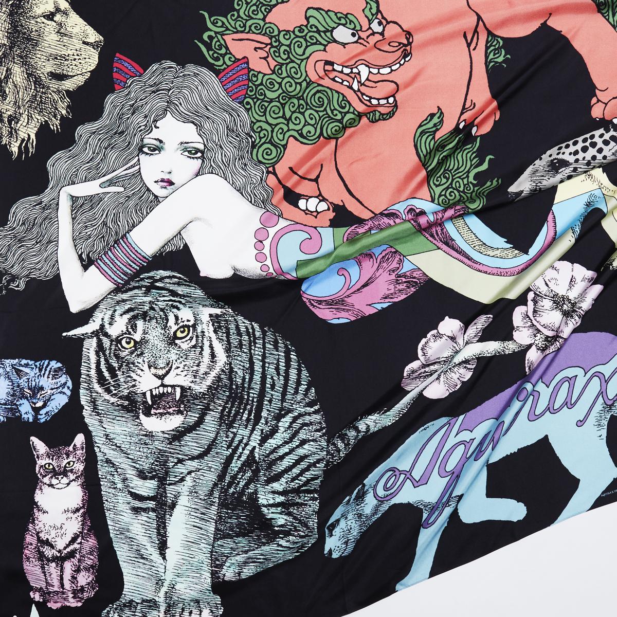 宇野亜喜良氏の書き下ろし作品「猫族」を織り込んだスカーフ