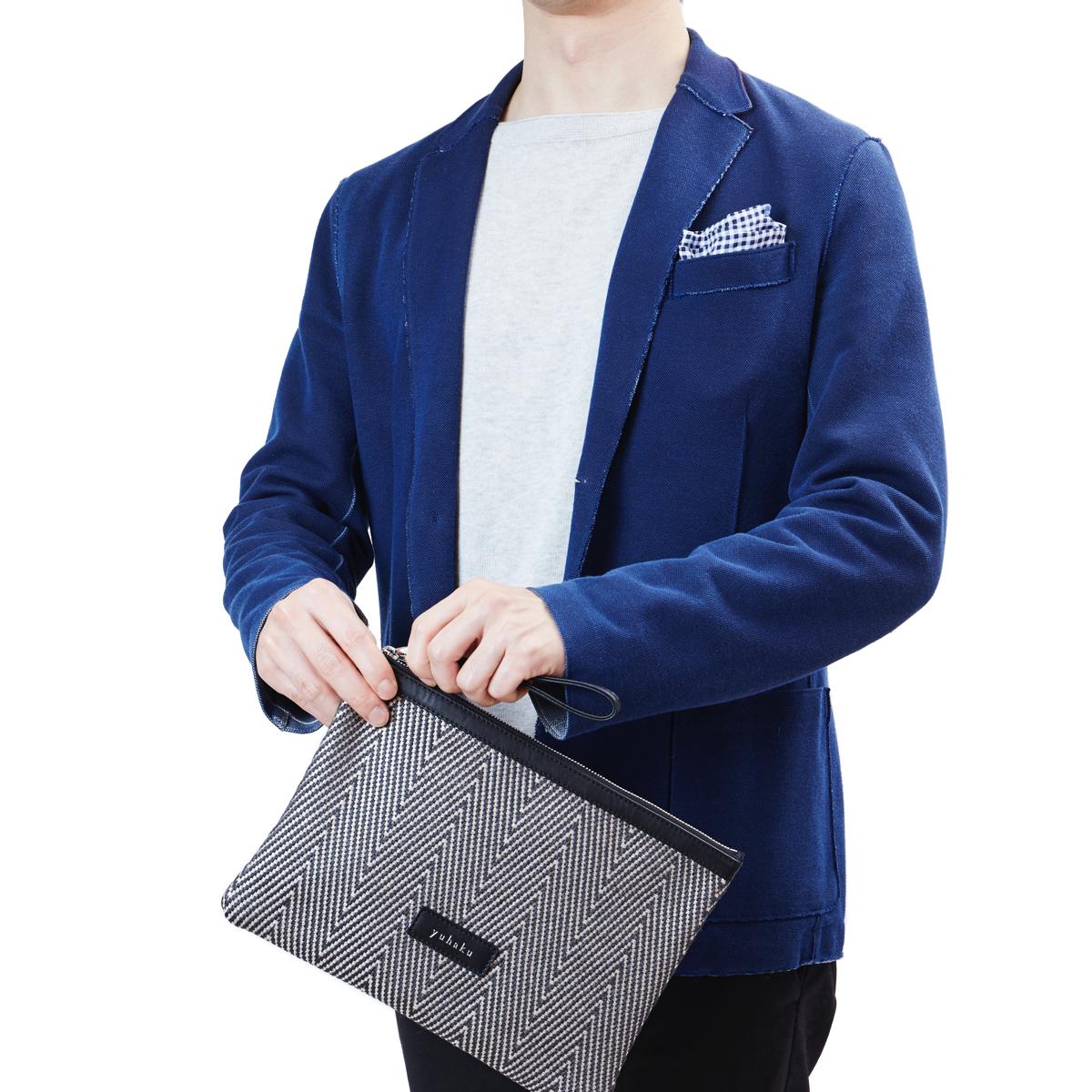 ジャケットスタイルに合わせたいメンズ革ポーチ yuhaku