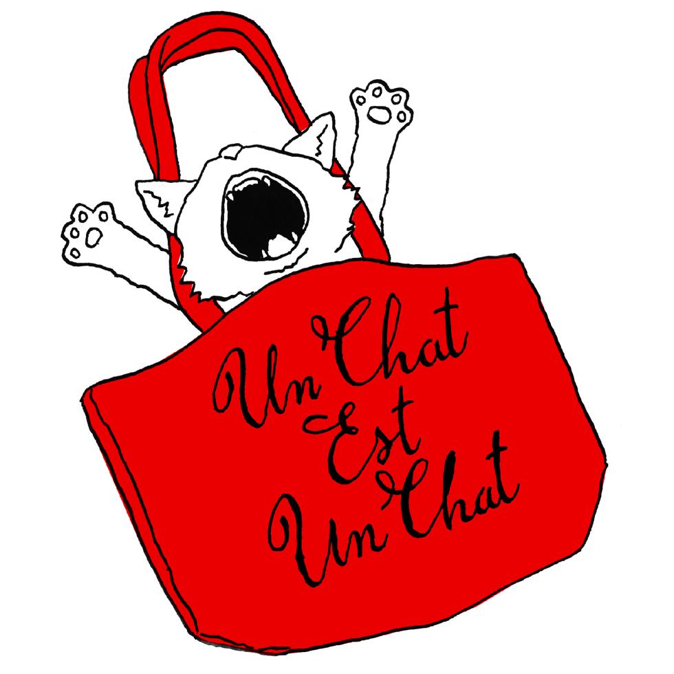 猫の赤いトートバッグ