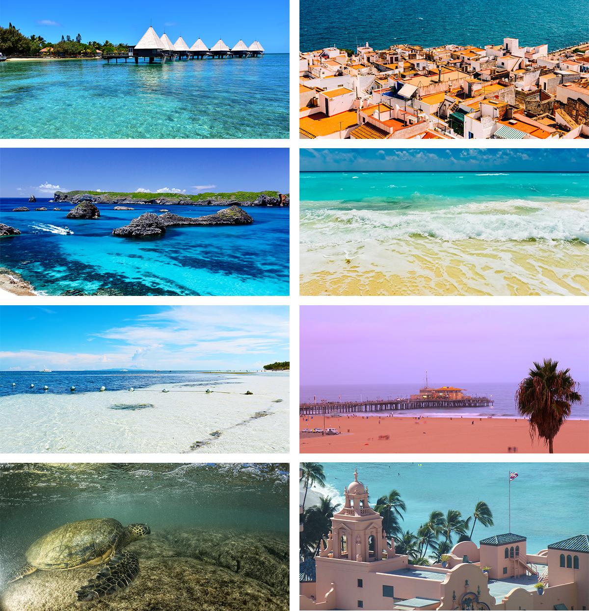 「いま行きたい世界のビーチ」をテーマにしたビーチサンダル(全8色)|九十九サンダル