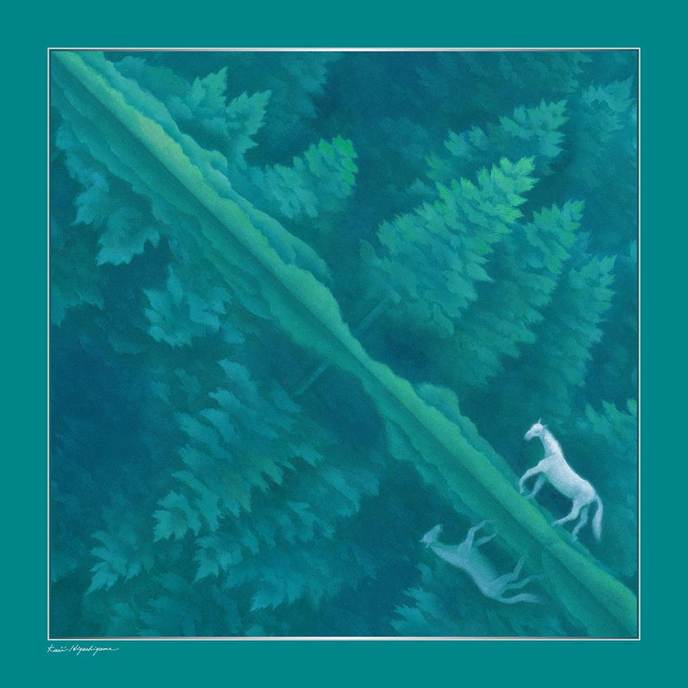 日本画家・東山魁夷の日本画が描かれたシルクスカーフ「緑響く」