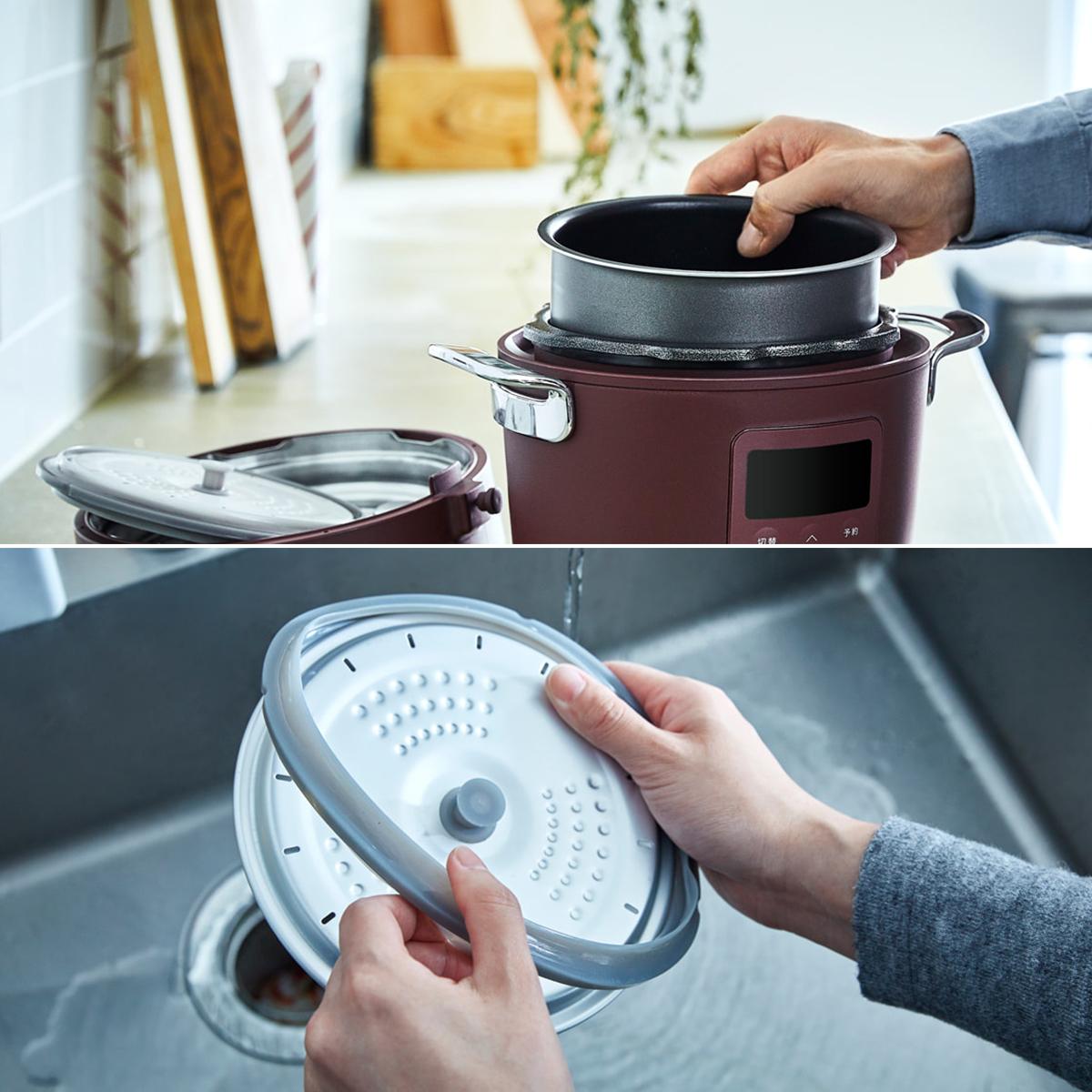 内ぶたはパッキンを取り外して、圧力切替弁もふた本体から取り外して、内がまと一緒に丸洗いできて衛生的。炊飯も調理も楽チンで早い「アシスト調理器・電気圧力鍋」|Re-De Pot(リデ ポット)
