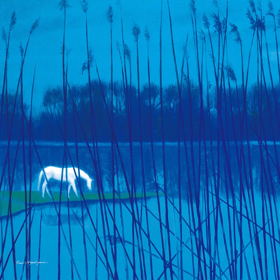 日本画家・東山魁夷の日本画が描かれたシ風呂敷「水辺の朝」