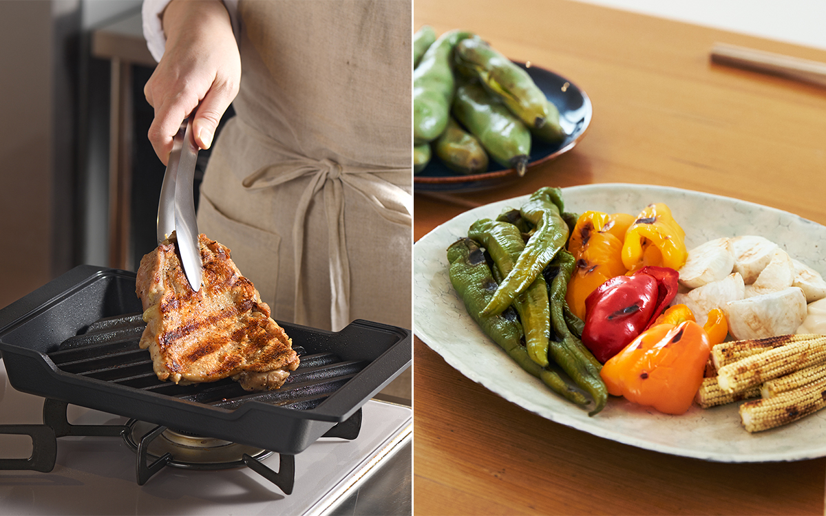炭火焼きの原理で焼くから、チキンソテーや焼き野菜、トーストだって、もちろんおいしい|極厚炭グリルでパリッ、ふわっ、旨っ!コンロで手軽な「魚焼き器」|新潟・燕三条のオークス製の大人の焼魚 炭グリル