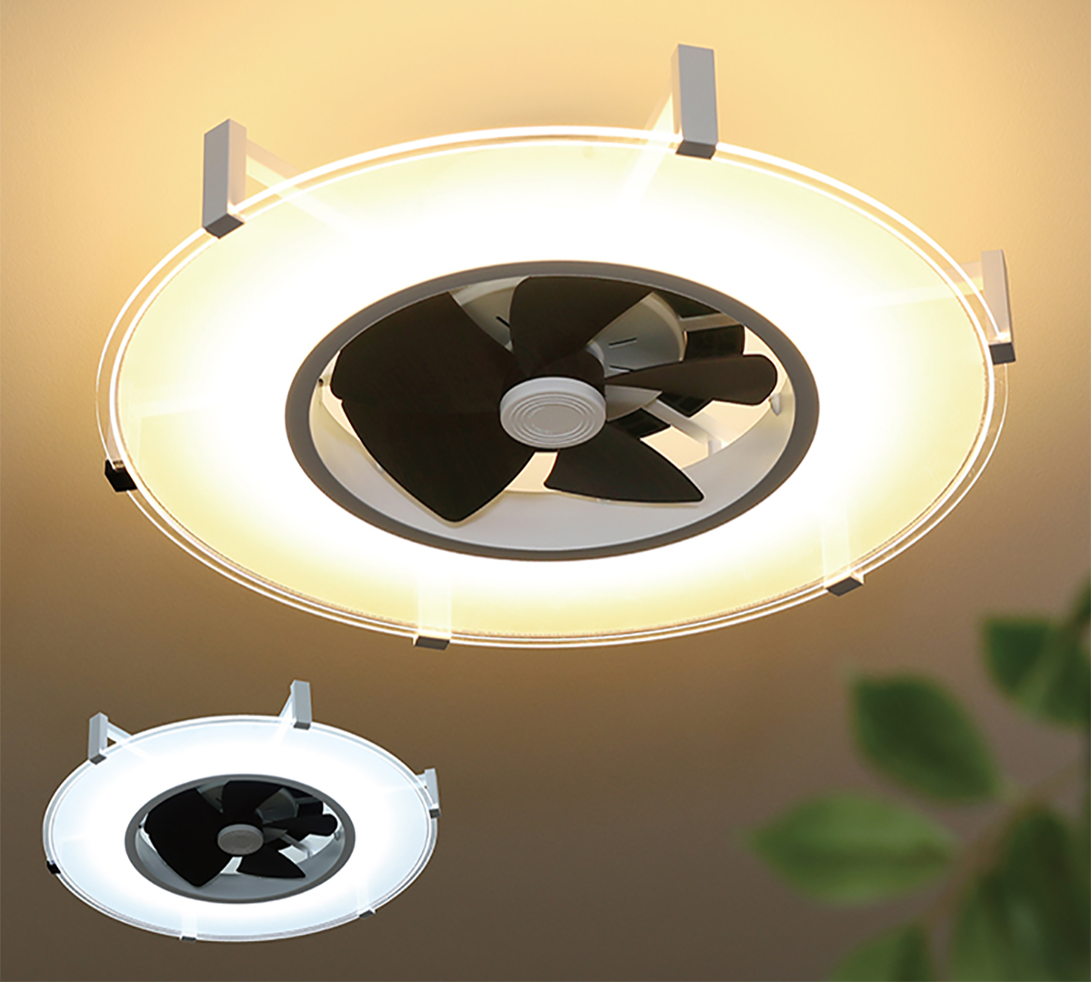 照明の明るさは、10段階。空気を循環させるファンと天井照明がひとつになった、シーリングファンライト JAVALO ELF(ジャバロエルフ)のパネライト