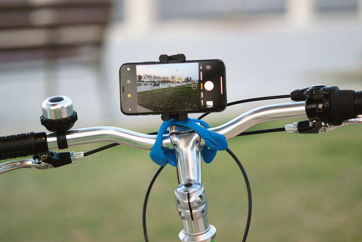 自転車のハンドルにも固定できる、柔軟な5本足でスマホやカメラをどこにでも固定!薄くて、軽くて、コンパクトなスマホ&カメラ用スタンド| miggo