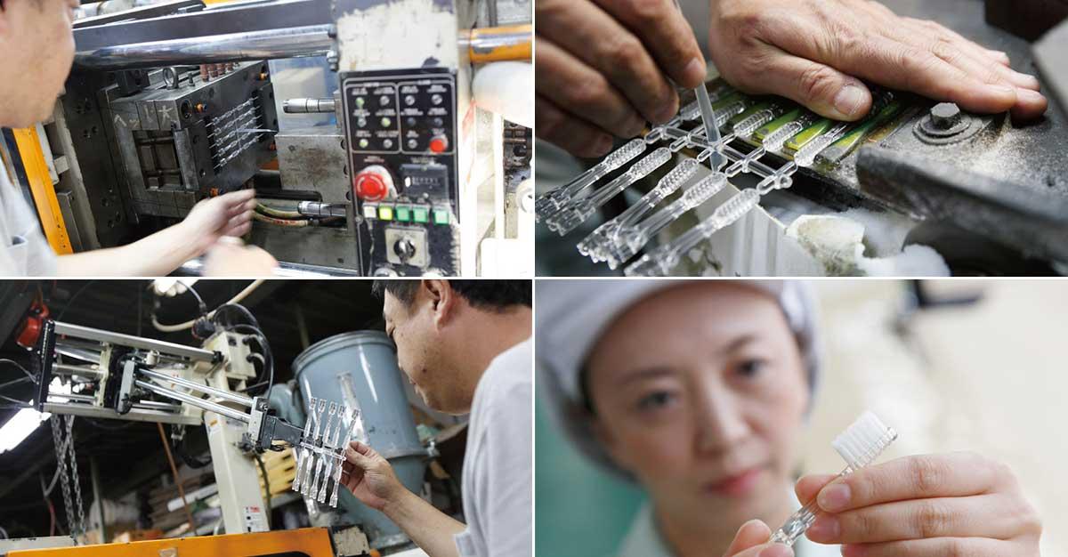 ブラシも本体も、日本製。ものづくりの町・東大阪で、熟練の職人さんたちが、手作業で成型やチェックを長年続けています。光触媒の効果で、歯磨き粉なしでも歯垢がとれる「電動歯ブラシ」|SOLADEY