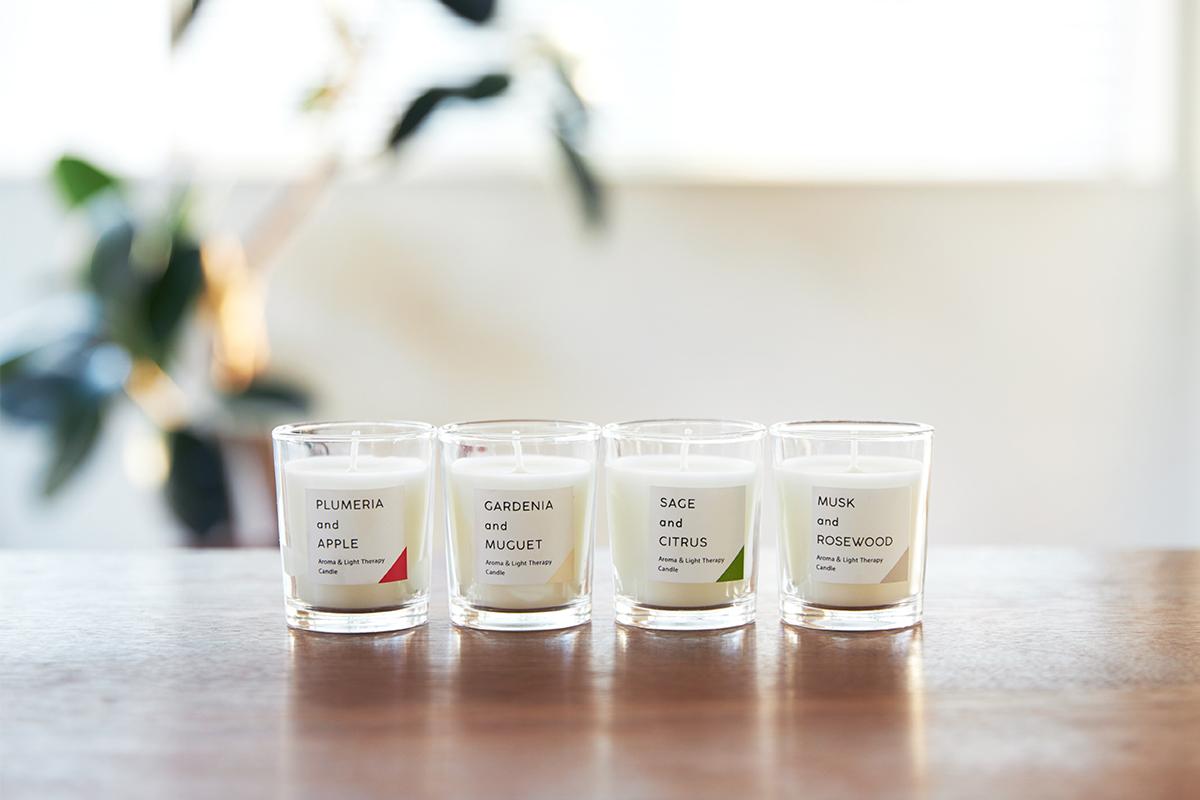 シンプルで美しいグラス入りアロマキャンドル。火を使わずにアロマキャンドルを灯せて、明かりと香りも楽しめる卓上ライト「キャンドルウォーマーランプ」|kameyama candle house