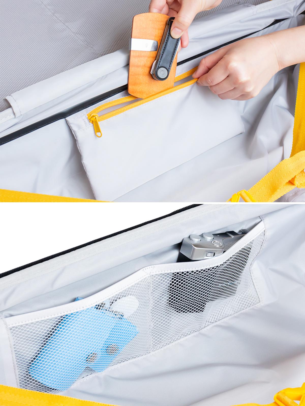 すぐに取り出したい小物入れとして重宝する便利なポケット付き。大小ふたつのサイズを「入れ子収納」できる、機内持ち込み用(37L)&長期旅行用(72L)スーツケースセット| RAWROW | R TRUNK LITE
