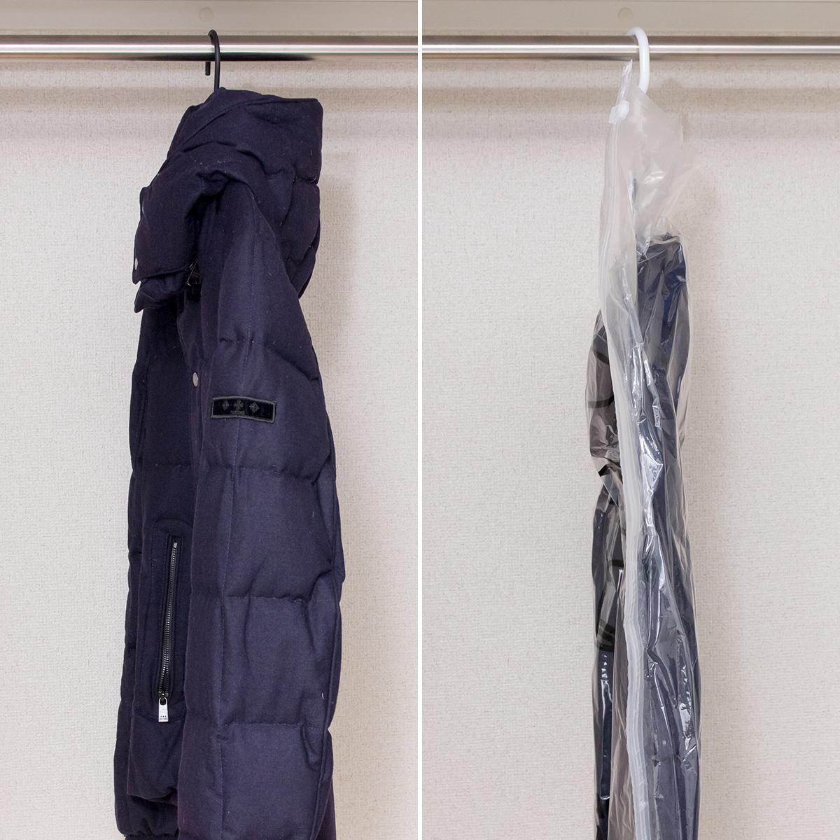クローゼットの収納スペースを最大限に活かせる、ハンガーごと収納OK、シワ・型崩れ知らずの衣類圧縮バッグvacuum seal hanging bag