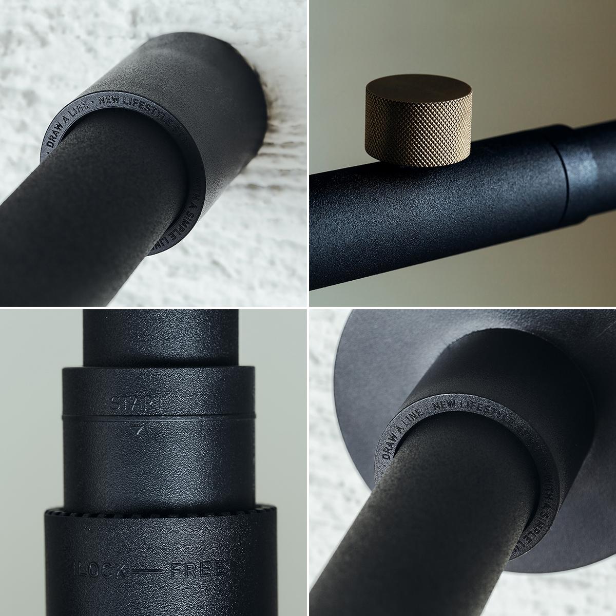 壁への穴開けも、工具も、必要なし。洗練されたデザインの照明とテーブルがセットできる「つっぱり棒」|DRAW A LINE ランプシリーズ
