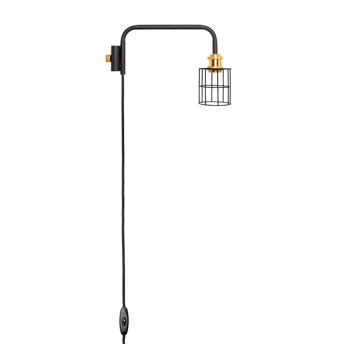ワイヤーを編んだランプシェードに、38cmの短めアームをくっつけた「ランプ」。照明とテーブルがセットできる「つっぱり棒」|DRAW A LINE ランプシリーズ