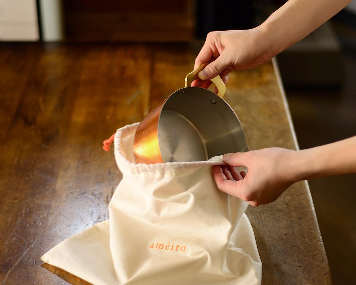 プレゼントで喜ばれる収納袋付きの料理が美味しくなる銅のフライパン・卵焼き器・鍋|ameiro