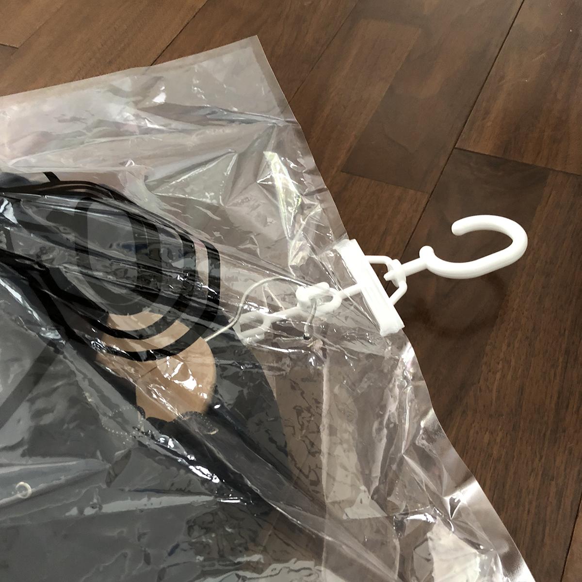 2段になっているハンガーフック|ハンガーごと収納OK、シワ・型崩れ知らずの衣類圧縮バッグ|vacuum seal hanging bag